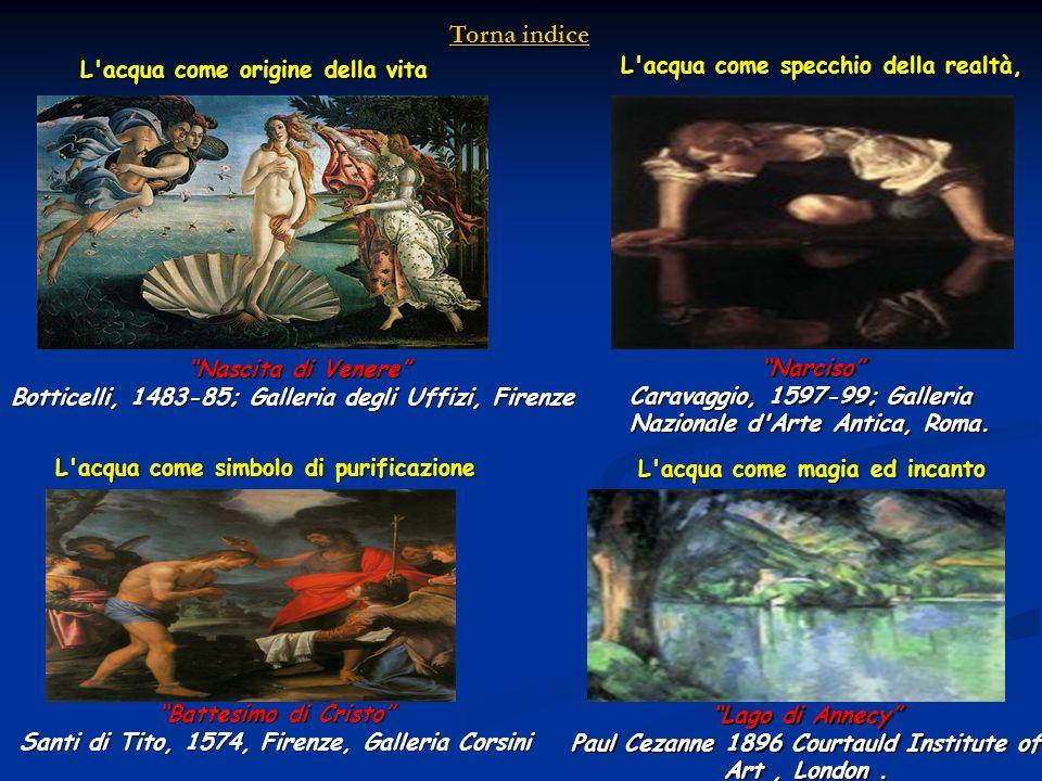 Battesimo di Cristo Santi di Tito, 1574, Firenze, Galleria Corsini L'acqua come origine della vita Nascita di Venere Botticelli, 1483-85; Galleria deg