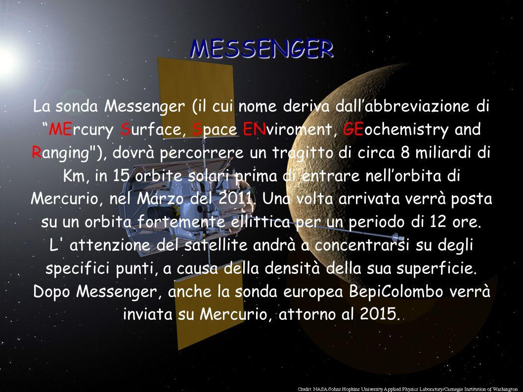 MESSENGER La sonda Messenger (il cui nome deriva dallabbreviazione diMErcury Surface, Space ENviroment, GEochemistry and Ranging