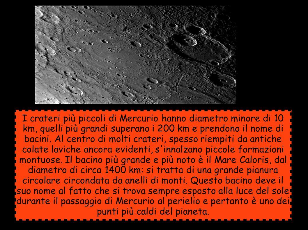 I crateri più piccoli di Mercurio hanno diametro minore di 10 km, quelli più grandi superano i 200 km e prendono il nome di bacini. Al centro di molti