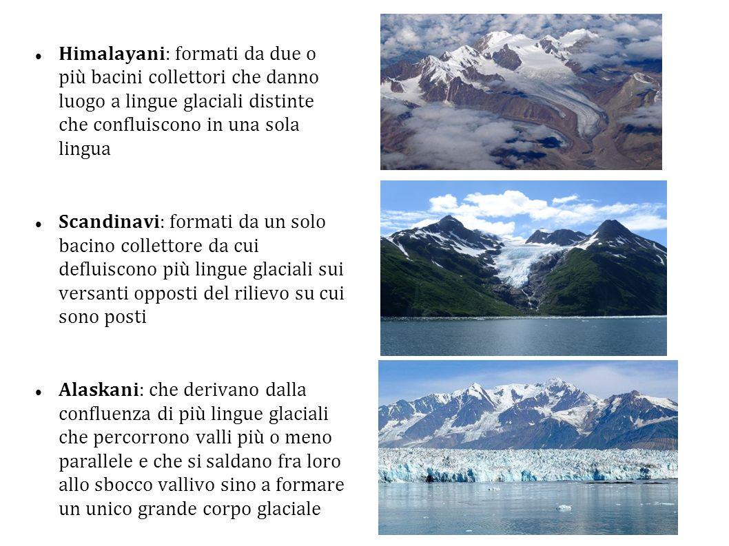 Himalayani: formati da due o più bacini collettori che danno luogo a lingue glaciali distinte che confluiscono in una sola lingua Scandinavi: formati