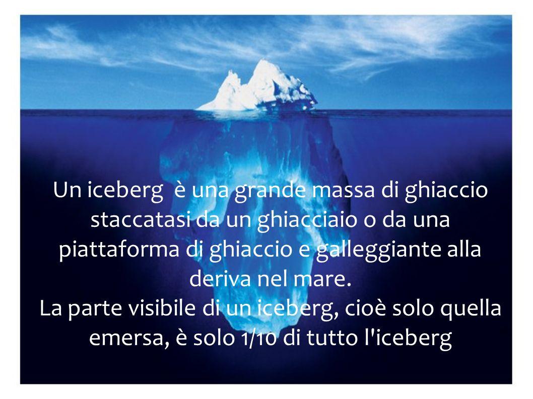 Un iceberg è una grande massa di ghiaccio staccatasi da un ghiacciaio o da una piattaforma di ghiaccio e galleggiante alla deriva nel mare. La parte v