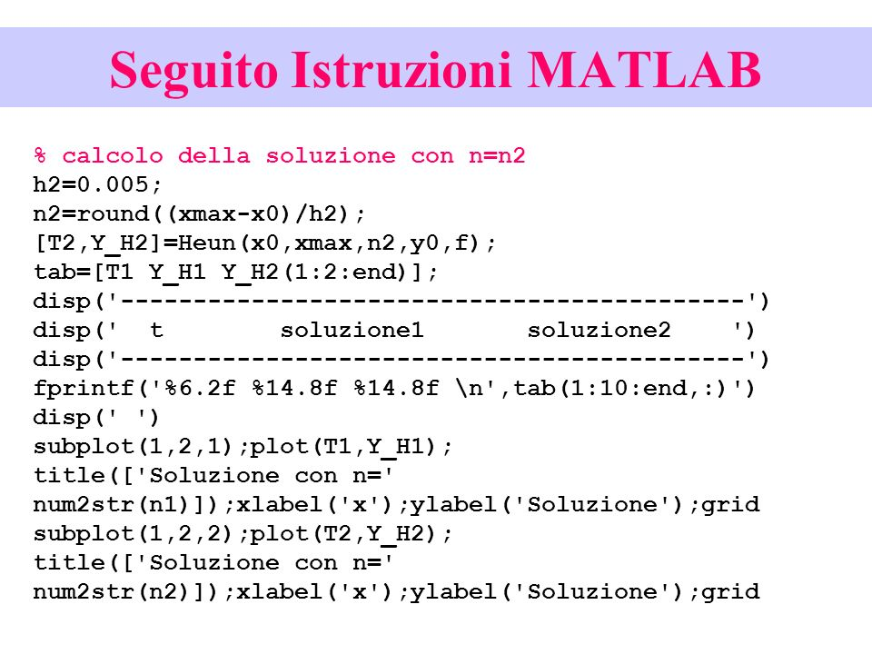 Seguito Istruzioni MATLAB % calcolo della soluzione con n=n2 h2=0.005; n2=round((xmax-x0)/h2); [T2,Y_H2]=Heun(x0,xmax,n2,y0,f); tab=[T1 Y_H1 Y_H2(1:2:end)]; disp( ------------------------------------------- ) disp( t soluzione1 soluzione2 ) disp( ------------------------------------------- ) fprintf( %6.2f %14.8f %14.8f \n ,tab(1:10:end,:) ) disp( ) subplot(1,2,1);plot(T1,Y_H1); title([ Soluzione con n= num2str(n1)]);xlabel( x );ylabel( Soluzione );grid subplot(1,2,2);plot(T2,Y_H2); title([ Soluzione con n= num2str(n2)]);xlabel( x );ylabel( Soluzione );grid