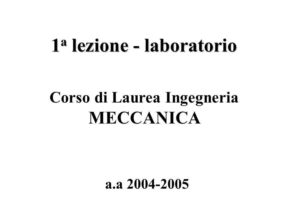 1 a lezione - laboratorio a.a 2004-2005 Corso di Laurea Ingegneria MECCANICA
