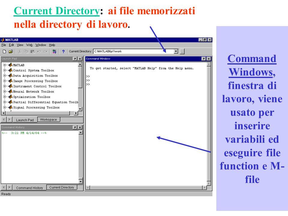 Command Windows, finestra di lavoro, viene usato per inserire variabili ed eseguire file function e M- file Current Directory: ai file memorizzati nella directory di lavoro.