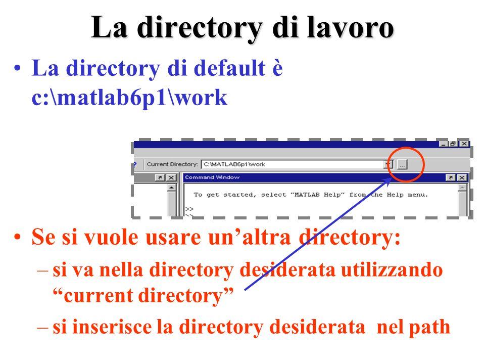 La directory di lavoro La directory di default è c:\matlab6p1\work Se si vuole usare unaltra directory: –si va nella directory desiderata utilizzando current directory –si inserisce la directory desiderata nel path