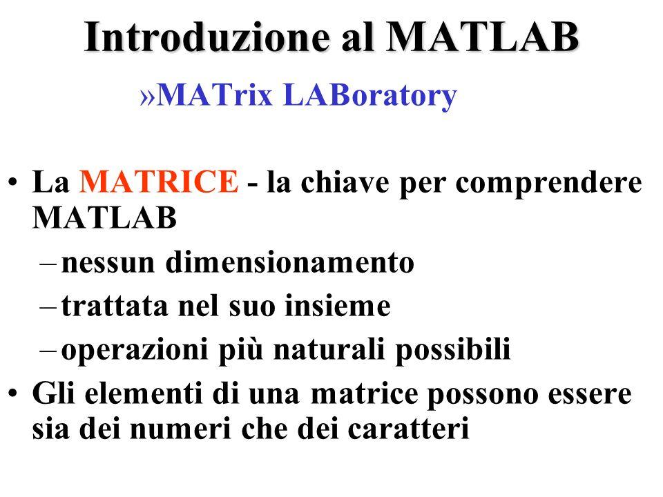 Introduzione al MATLAB »MATrix LABoratory La MATRICE - la chiave per comprendere MATLAB –nessun dimensionamento –trattata nel suo insieme –operazioni più naturali possibili Gli elementi di una matrice possono essere sia dei numeri che dei caratteri