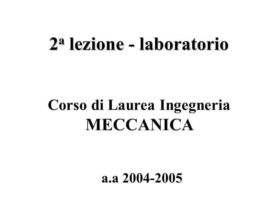 2 a lezione - laboratorio a.a 2004-2005 Corso di Laurea Ingegneria MECCANICA