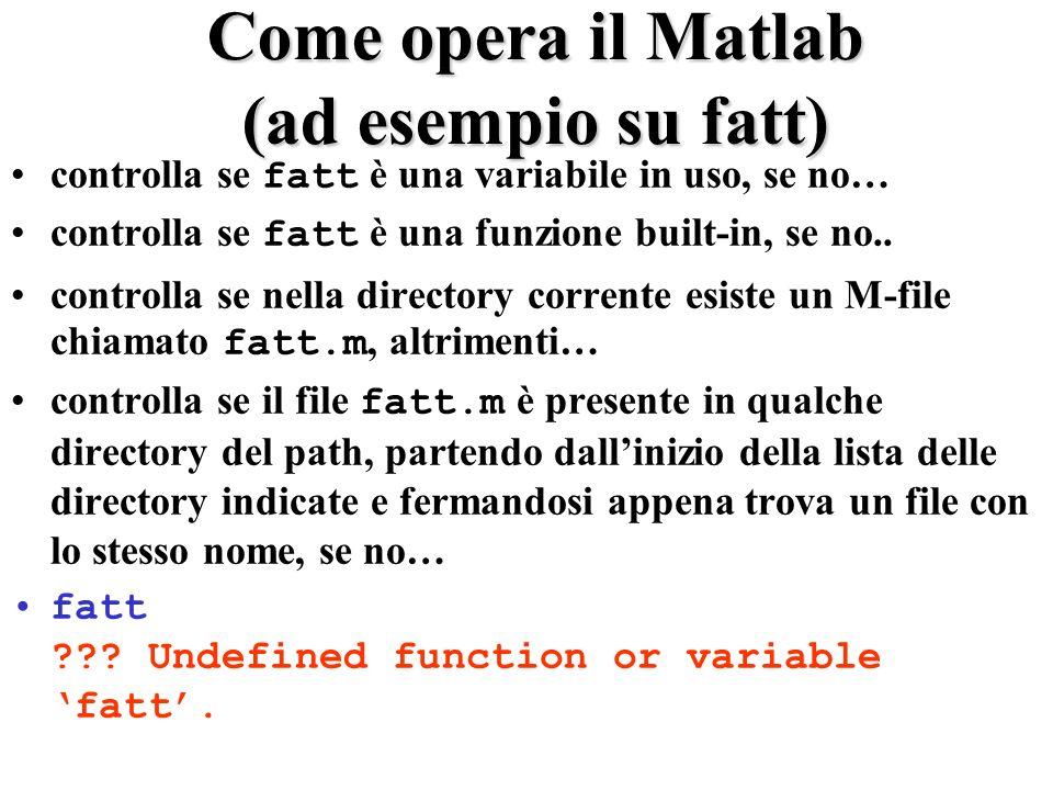 Come opera il Matlab (ad esempio su fatt) controlla se fatt è una variabile in uso, se no… controlla se fatt è una funzione built-in, se no.. controll