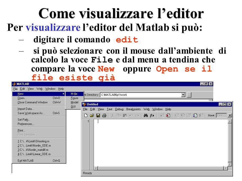 Come visualizzare leditor Per visualizzare leditor del Matlab si può: – digitare il comando edit – si può selezionare con il mouse dallambiente di calcolo la voce File e dal menu a tendina che compare la voce New oppure Open se il file esiste già