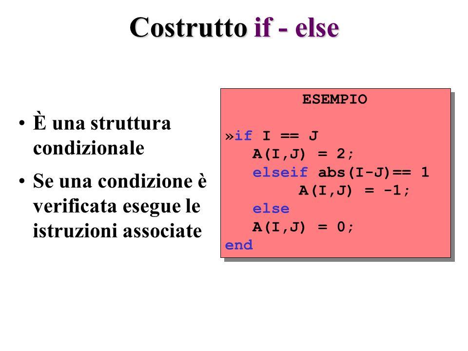 Costrutto if - else È una struttura condizionale Se una condizione è verificata esegue le istruzioni associate ESEMPIO »if I == J A(I,J) = 2; elseif abs(I-J)== 1 A(I,J) = -1; else A(I,J) = 0; end ESEMPIO »if I == J A(I,J) = 2; elseif abs(I-J)== 1 A(I,J) = -1; else A(I,J) = 0; end