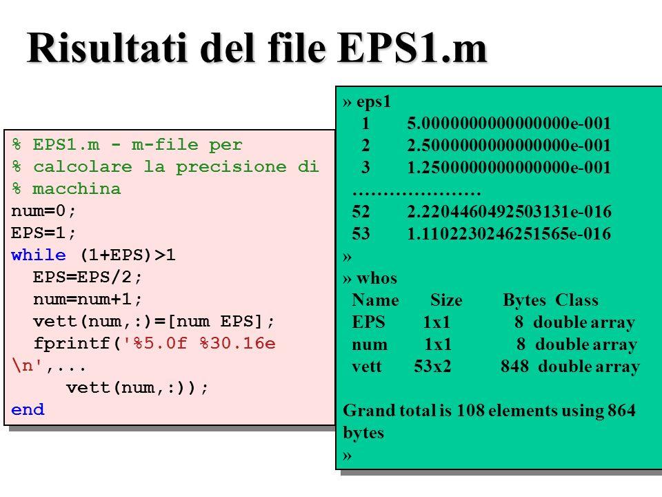 Risultati del file EPS1.m % EPS1.m - m-file per % calcolare la precisione di % macchina num=0; EPS=1; while (1+EPS)>1 EPS=EPS/2; num=num+1; vett(num,:)=[num EPS]; fprintf( %5.0f %30.16e \n ,...