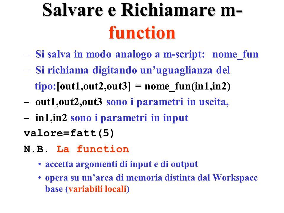 Salvare e Richiamare m- function – Si salva in modo analogo a m-script: nome_fun – Si richiama digitando unuguaglianza del tipo:[out1,out2,out3] = nome_fun(in1,in2) – out1,out2,out3 sono i parametri in uscita, – in1,in2 sono i parametri in input valore=fatt(5) N.B.