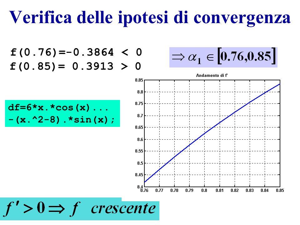 Verifica delle ipotesi di convergenza f(0.76)=-0.3864 0 df=6*x.*cos(x)... -(x.^2-8).*sin(x);