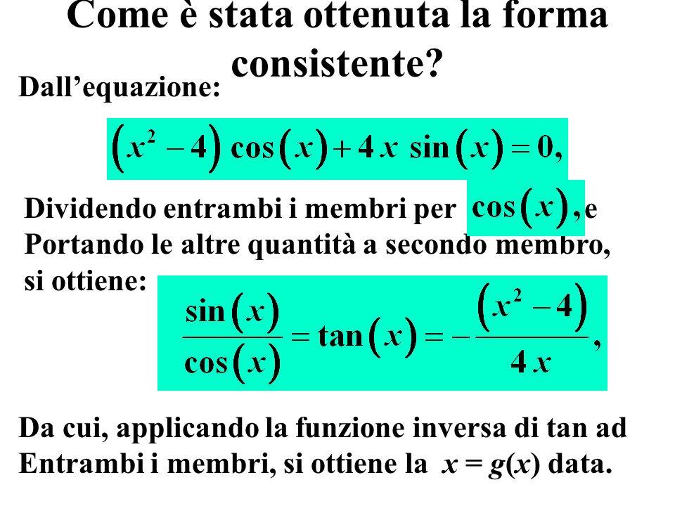 Punto c: tabella riassuntiva metodo bisezione iter=1:it; fprintf( %2d %22.15f %15.3e %15.3e\n ,[iter;xvect ;xdiff ;fx ]) 1 0.805000000000000 2.250e-002 2.217e-003 2 0.827500000000000 1.125e-002 1.935e-001 3 0.816250000000000 5.625e-003 9.535e-002 4 0.810625000000000 2.812e-003 4.650e-002 5 0.807812500000000 1.406e-003 2.212e-002 6 0.806406250000000 7.031e-004 9.948e-003 7 0.805703125000000 3.516e-004 3.864e-003 8 0.805351562500000 1.758e-004 8.235e-004............