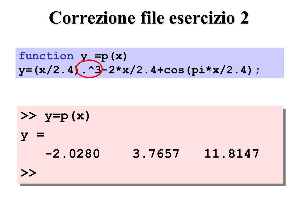 Correzione file esercizio 2 >> y=p(x) y = -2.0280 3.7657 11.8147 >> >> y=p(x) y = -2.0280 3.7657 11.8147 >> function y =p(x) y=(x/2.4).^3-2*x/2.4+cos(pi*x/2.4);