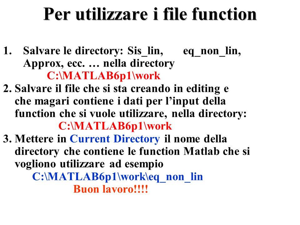Per utilizzare i file function 1.Salvare le directory: Sis_lin, eq_non_lin, Approx, ecc.