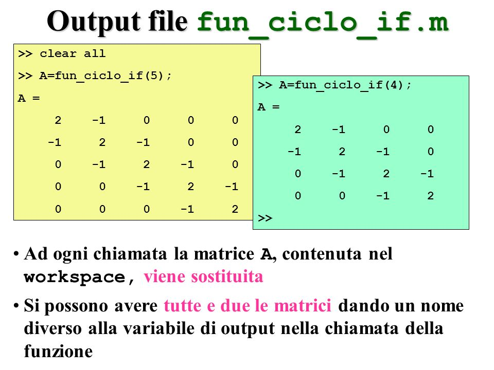 Output file fun_ciclo_if.m >> clear all >> A=fun_ciclo_if(5); A = 2 -1 0 0 0 -1 2 -1 0 0 0 -1 2 -1 0 0 0 -1 2 -1 0 0 0 -1 2 >> A=fun_ciclo_if(4); A =