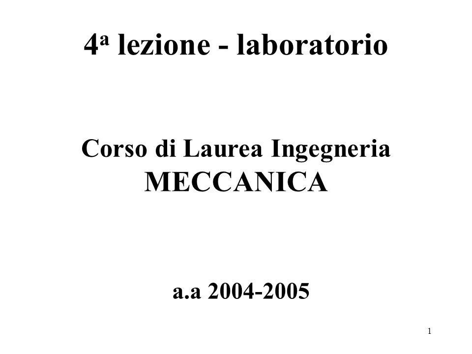 1 4 a lezione - laboratorio a.a 2004-2005 Corso di Laurea Ingegneria MECCANICA
