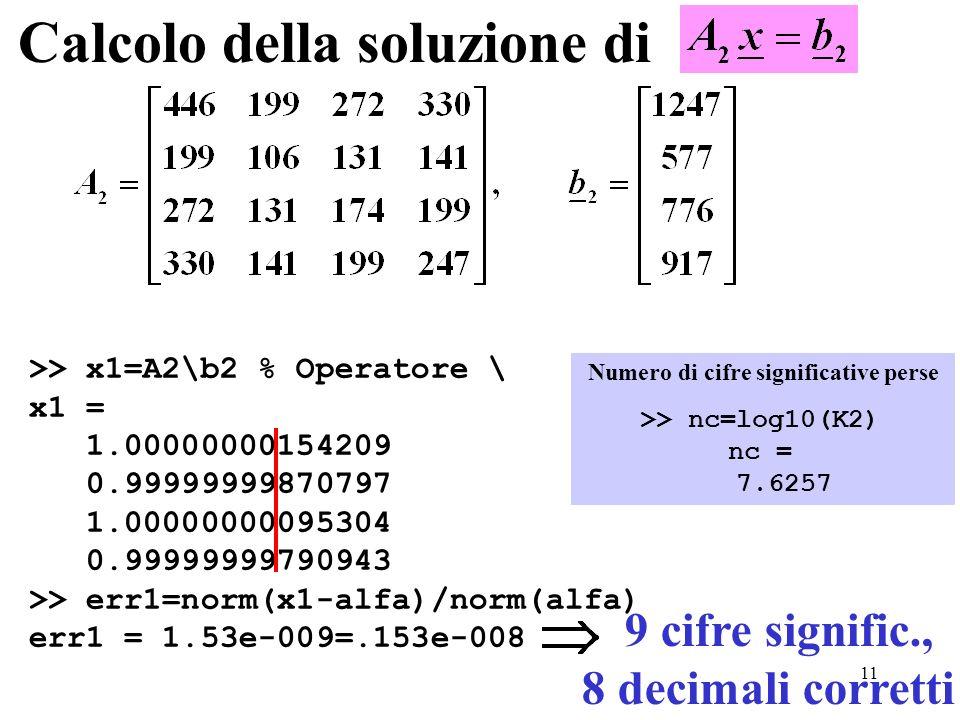 11 Calcolo della soluzione di >> x1=A2\b2 % Operatore \ x1 = 1.00000000154209 0.99999999870797 1.00000000095304 0.99999999790943 >> err1=norm(x1-alfa)/norm(alfa) err1 = 1.53e-009=.153e-008 >> nc=log10(K2) nc = 7.6257 Numero di cifre significative perse 9 cifre signific., 8 decimali corretti