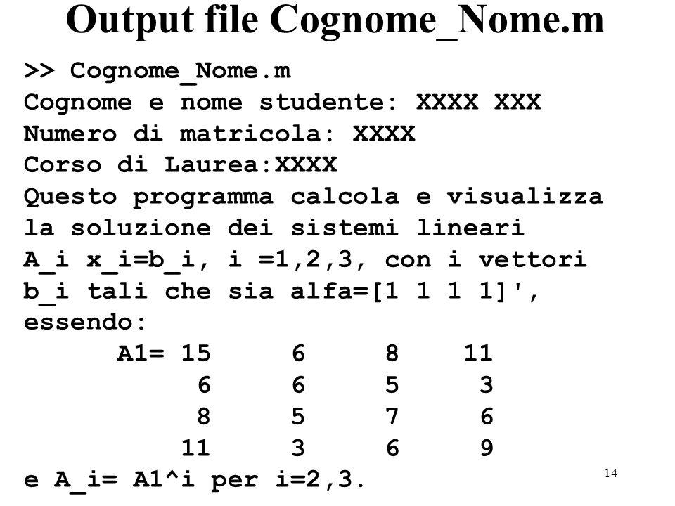 14 Output file Cognome_Nome.m >> Cognome_Nome.m Cognome e nome studente: XXXX XXX Numero di matricola: XXXX Corso di Laurea:XXXX Questo programma calc