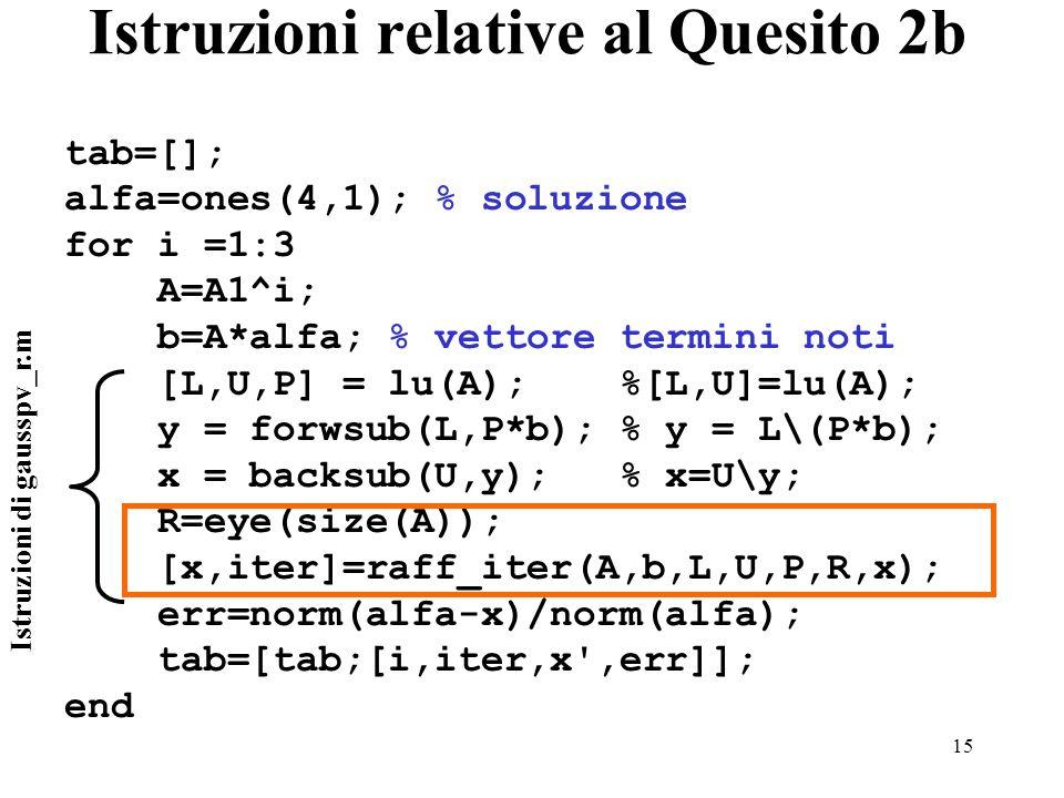 15 Istruzioni relative al Quesito 2b tab=[]; alfa=ones(4,1); % soluzione for i =1:3 A=A1^i; b=A*alfa; % vettore termini noti [L,U,P] = lu(A); %[L,U]=lu(A); y = forwsub(L,P*b); % y = L\(P*b); x = backsub(U,y); % x=U\y; R=eye(size(A)); [x,iter]=raff_iter(A,b,L,U,P,R,x); err=norm(alfa-x)/norm(alfa); tab=[tab;[i,iter,x ,err]]; end Istruzioni di gausspv_r.m
