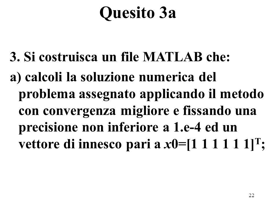 22 3. Si costruisca un file MATLAB che: a) calcoli la soluzione numerica del problema assegnato applicando il metodo con convergenza migliore e fissan