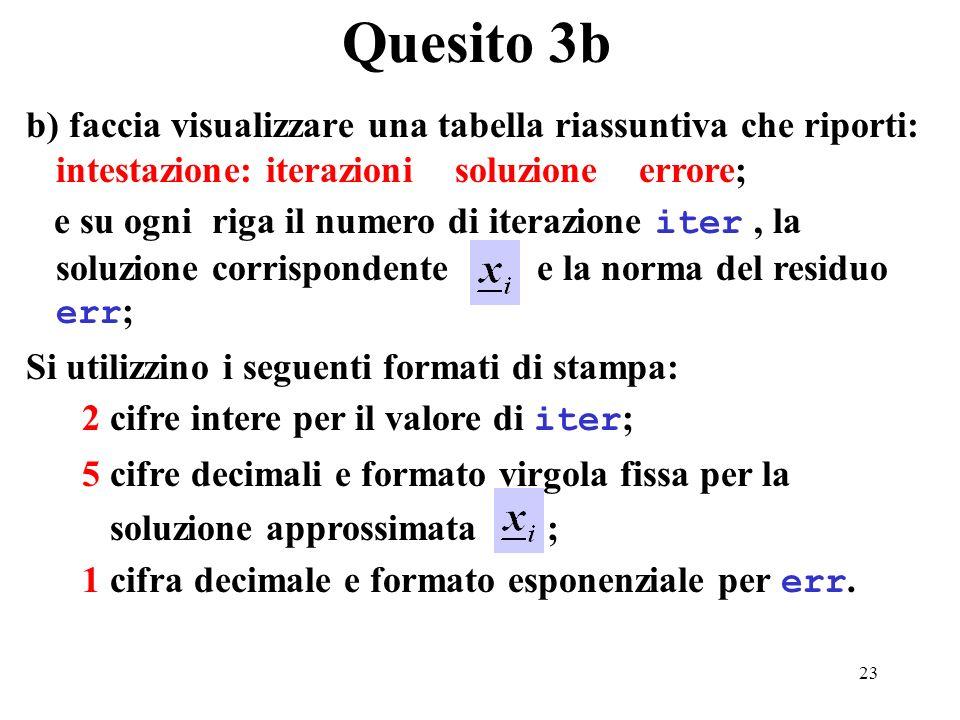 23 b) faccia visualizzare una tabella riassuntiva che riporti: intestazione: iterazioni soluzione errore; e su ogni riga il numero di iterazione iter, la soluzione corrispondente e la norma del residuo err ; Si utilizzino i seguenti formati di stampa: 2 cifre intere per il valore di iter ; 5 cifre decimali e formato virgola fissa per la soluzione approssimata ; 1 cifra decimale e formato esponenziale per err.