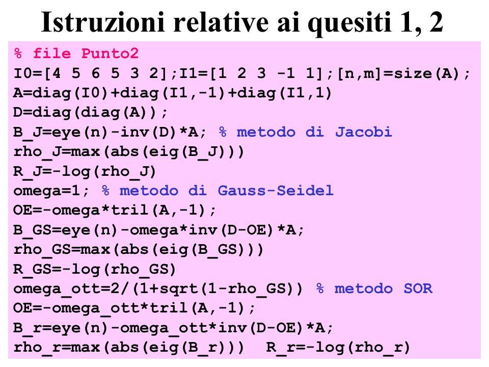 26 Istruzioni relative ai quesiti 1, 2 % file Punto2 I0=[4 5 6 5 3 2];I1=[1 2 3 -1 1];[n,m]=size(A); A=diag(I0)+diag(I1,-1)+diag(I1,1) D=diag(diag(A)); B_J=eye(n)-inv(D)*A; % metodo di Jacobi rho_J=max(abs(eig(B_J))) R_J=-log(rho_J) omega=1; % metodo di Gauss-Seidel OE=-omega*tril(A,-1); B_GS=eye(n)-omega*inv(D-OE)*A; rho_GS=max(abs(eig(B_GS))) R_GS=-log(rho_GS) omega_ott=2/(1+sqrt(1-rho_GS)) % metodo SOR OE=-omega_ott*tril(A,-1); B_r=eye(n)-omega_ott*inv(D-OE)*A; rho_r=max(abs(eig(B_r))) R_r=-log(rho_r)