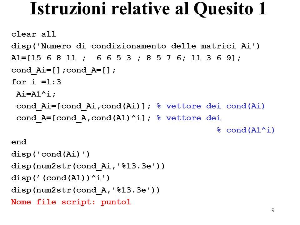 9 Istruzioni relative al Quesito 1 clear all disp('Numero di condizionamento delle matrici Ai') A1=[15 6 8 11 ; 6 6 5 3 ; 8 5 7 6; 11 3 6 9]; cond_Ai=