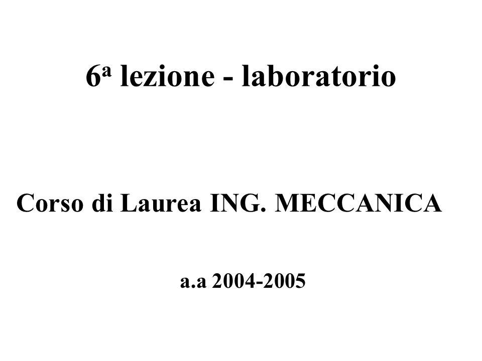 6 a lezione - laboratorio a.a 2004-2005 Corso di Laurea ING. MECCANICA