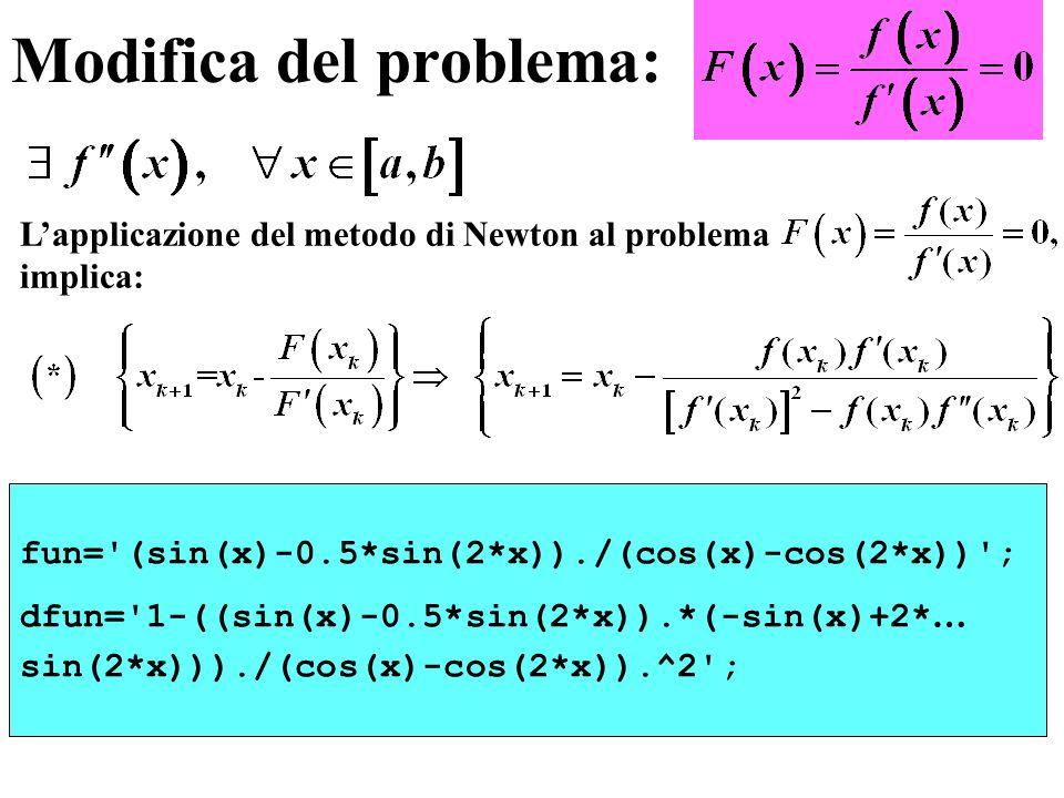 Modifica del problema: fun='(sin(x)-0.5*sin(2*x))./(cos(x)-cos(2*x))'; dfun='1-((sin(x)-0.5*sin(2*x)).*(-sin(x)+2* … sin(2*x)))./(cos(x)-cos(2*x)).^2'
