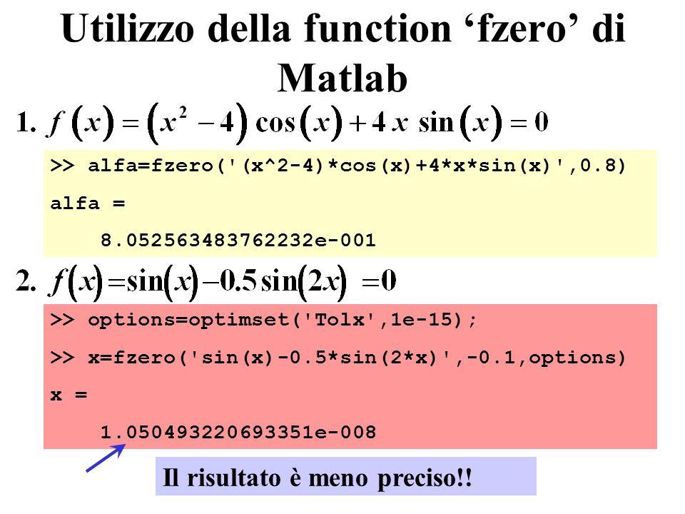 Utilizzo della function fzero di Matlab >> alfa=fzero('(x^2-4)*cos(x)+4*x*sin(x)',0.8) alfa = 8.052563483762232e-001 >> options=optimset('Tolx',1e-15)