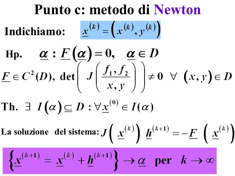 Punto c: metodo di Newton Indichiamo: Hp. La soluzione del sistema: