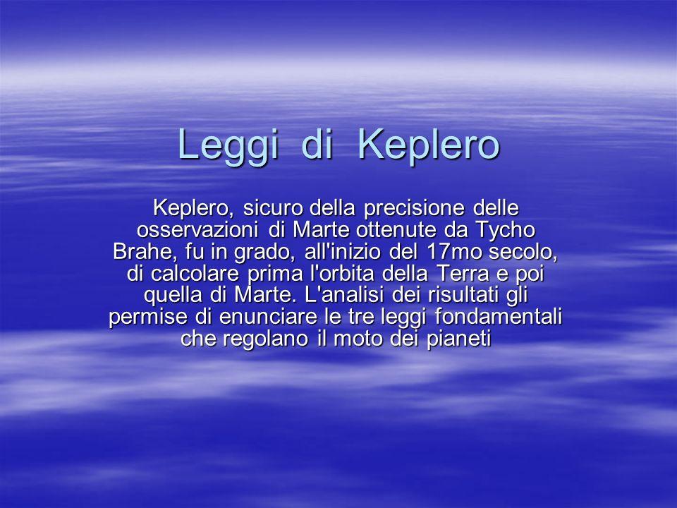Leggi di Keplero Keplero, sicuro della precisione delle osservazioni di Marte ottenute da Tycho Brahe, fu in grado, all'inizio del 17mo secolo, di cal