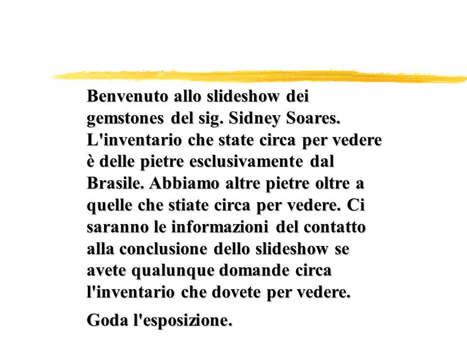 Benvenuto allo slideshow dei gemstones del sig. Sidney Soares.
