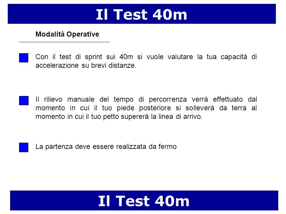 Il Test 40m Modalità Operative La partenza deve essere realizzata da fermo Con il test di sprint sui 40m si vuole valutare la tua capacità di accelera