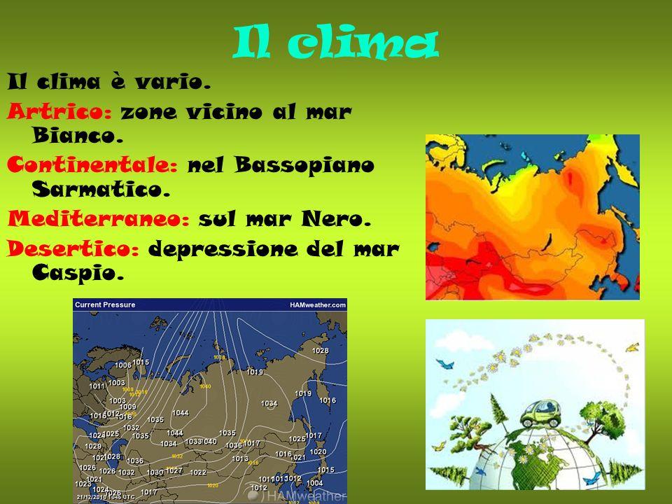 Il clima Il clima è vario. Artrico: zone vicino al mar Bianco. Continentale: nel Bassopiano Sarmatico. Mediterraneo: sul mar Nero. Desertico: depressi