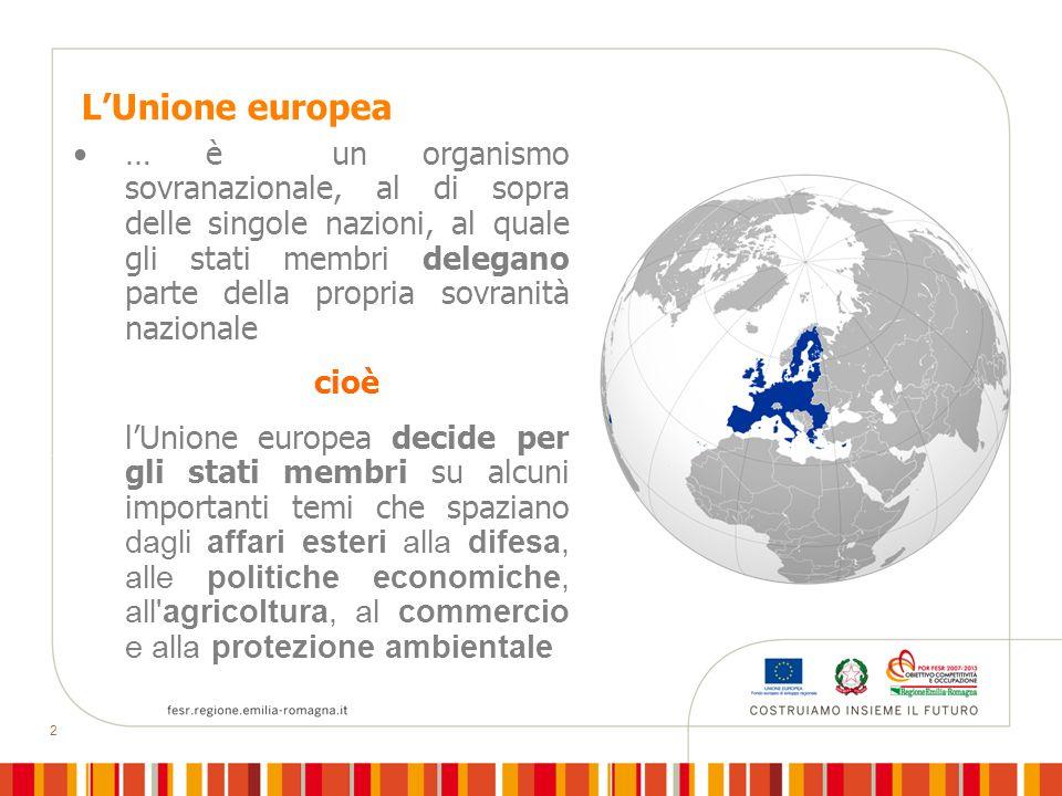2 LUnione europea … è un organismo sovranazionale, al di sopra delle singole nazioni, al quale gli stati membri delegano parte della propria sovranità