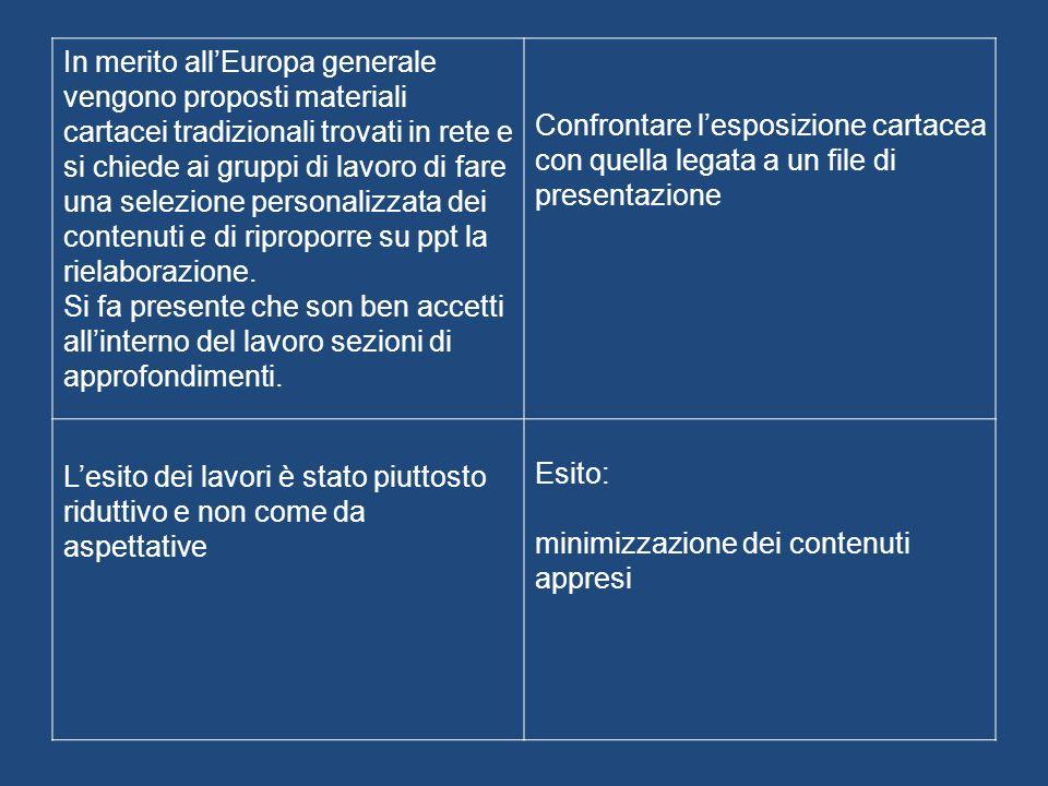 In merito allEuropa generale vengono proposti materiali cartacei tradizionali trovati in rete e si chiede ai gruppi di lavoro di fare una selezione personalizzata dei contenuti e di riproporre su ppt la rielaborazione.