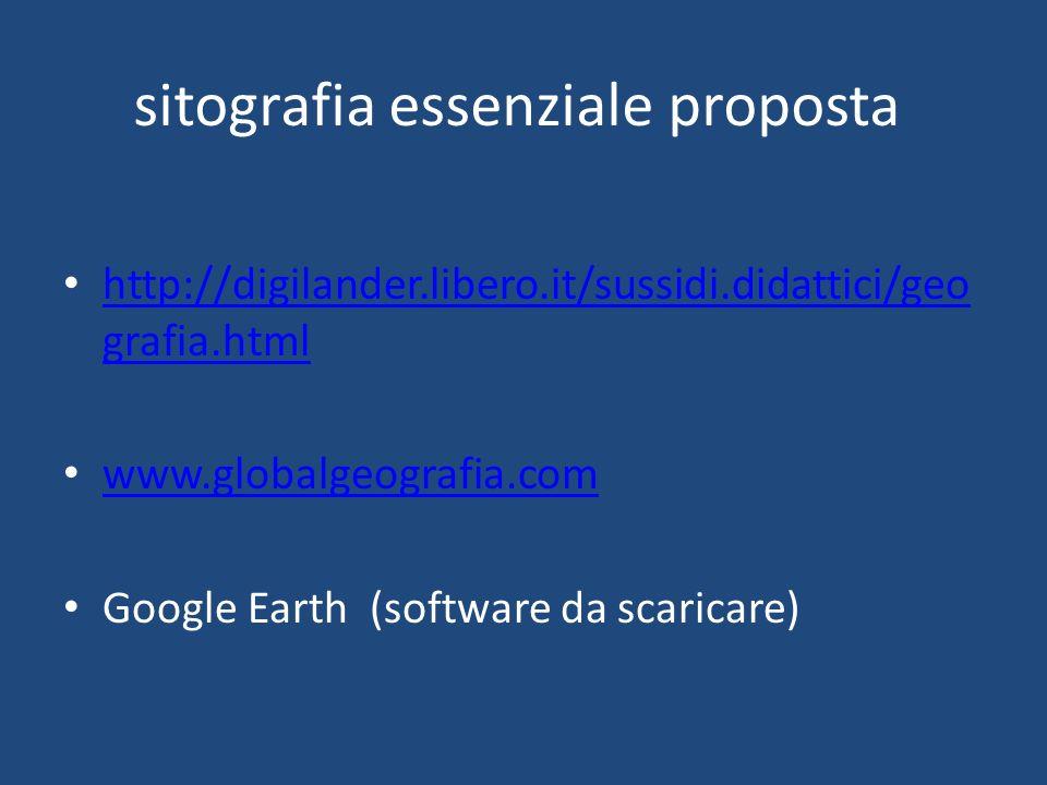 sitografia essenziale proposta http://digilander.libero.it/sussidi.didattici/geo grafia.html http://digilander.libero.it/sussidi.didattici/geo grafia.html www.globalgeografia.com Google Earth (software da scaricare)