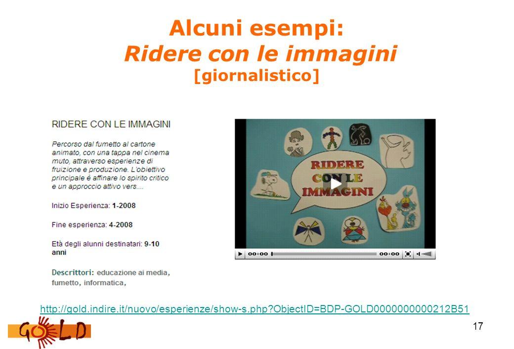 17 Alcuni esempi: Ridere con le immagini [giornalistico] http://gold.indire.it/nuovo/esperienze/show-s.php?ObjectID=BDP-GOLD0000000000212B51