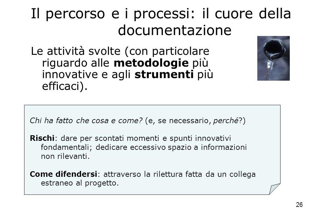 26 Il percorso e i processi: il cuore della documentazione Le attività svolte (con particolare riguardo alle metodologie più innovative e agli strumenti più efficaci).