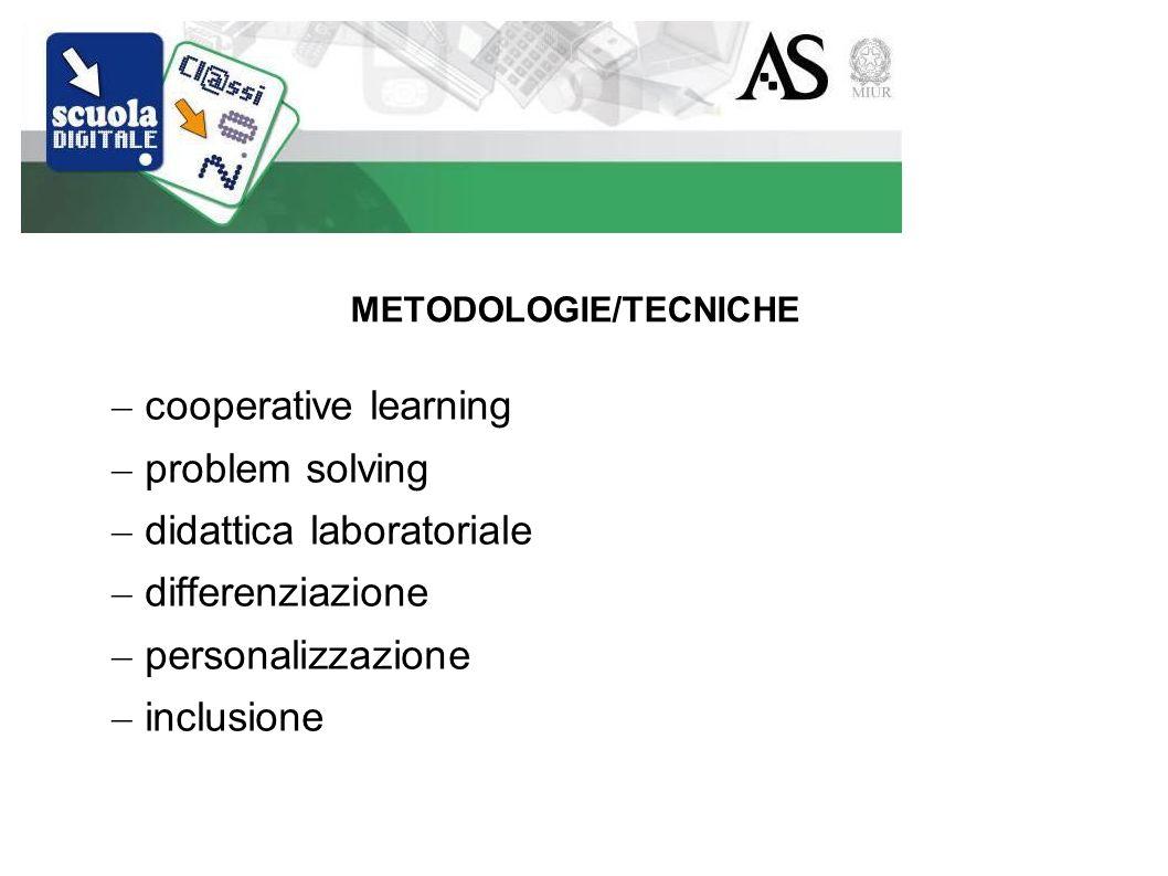 METODOLOGIE/TECNICHE – cooperative learning – problem solving – didattica laboratoriale – differenziazione – personalizzazione – inclusione