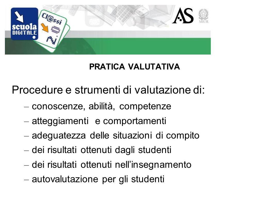 PRATICA VALUTATIVA Procedure e strumenti di valutazione di: – conoscenze, abilità, competenze – atteggiamenti e comportamenti – adeguatezza delle situazioni di compito – dei risultati ottenuti dagli studenti – dei risultati ottenuti nellinsegnamento – autovalutazione per gli studenti