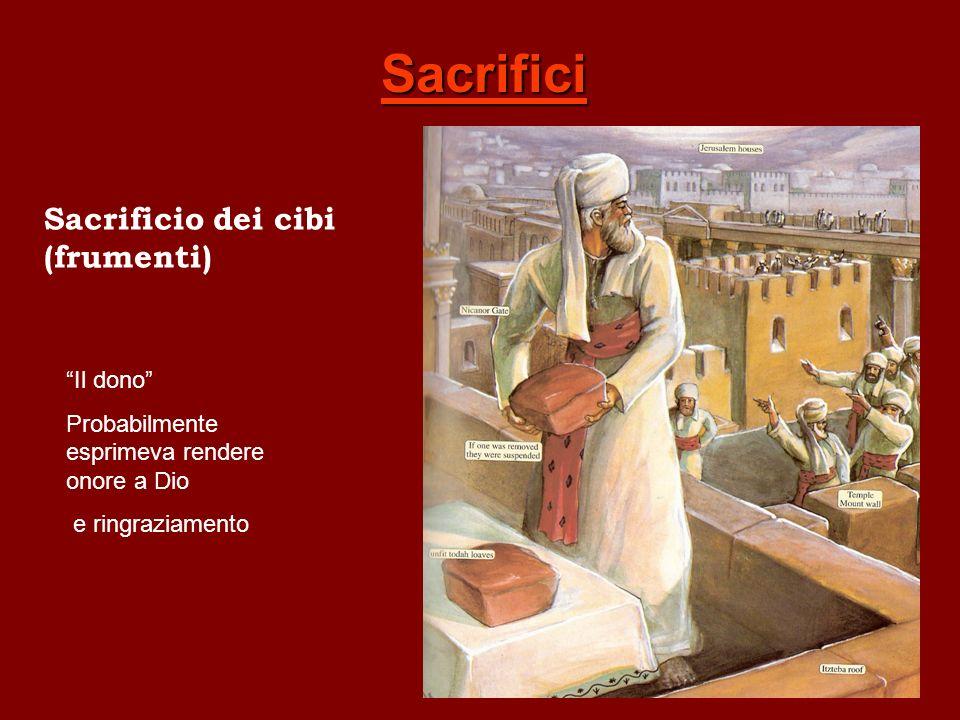 Sacrifici Sacrificio dei cibi (frumenti) Il dono Probabilmente esprimeva rendere onore a Dio e ringraziamento