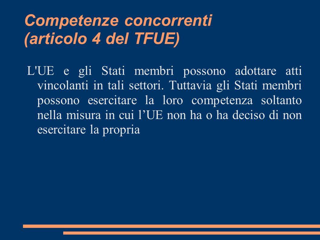 Competenze di sostegno (articolo 6 del TFUE) LUE può solamente sostenere, coordinare o completare lazione degli Stati membri.