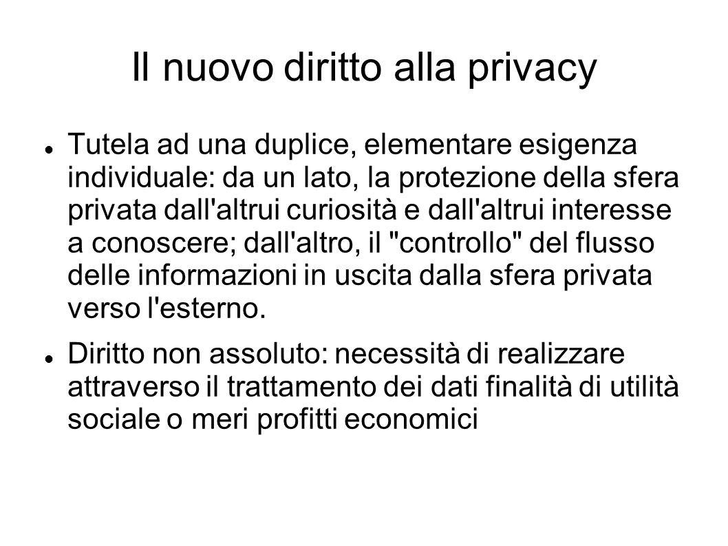 Il nuovo diritto alla privacy Tutela ad una duplice, elementare esigenza individuale: da un lato, la protezione della sfera privata dall'altrui curios