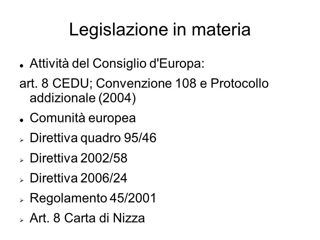 Legislazione in materia Attività del Consiglio d'Europa: art. 8 CEDU; Convenzione 108 e Protocollo addizionale (2004) Comunità europea Direttiva quadr