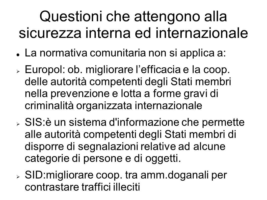 Questioni che attengono alla sicurezza interna ed internazionale La normativa comunitaria non si applica a: Europol: ob.