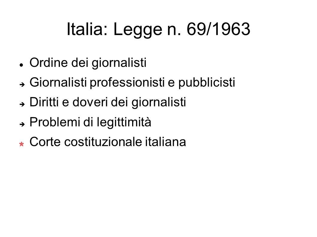 Italia: Legge n. 69/1963 Ordine dei giornalisti Giornalisti professionisti e pubblicisti Diritti e doveri dei giornalisti Problemi di legittimità Cort